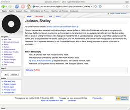 Screenshot of Shelley Jackson page