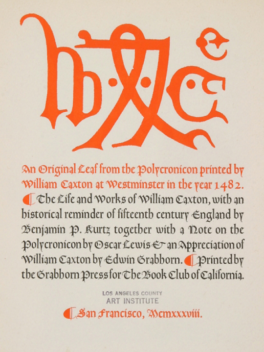 Caxton title page